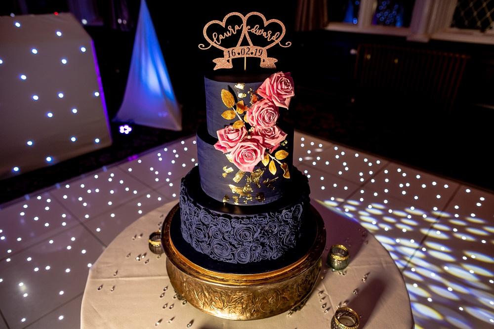 Navy and Blush Pink Wedding Cake