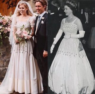 We love how Princess Beatrice modernised the Queen's gown for her special day. 🤩⠀ ⠀ 📸 @caroline.chamberlainbridal⠀ ⠀ #royals #royalty #royalfamily #style #fashion #royalstyle #royalfashion  #royalwedding #royalweddingdress #wedding #weddings #weddingdress