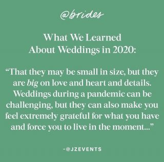 Here's to having lived more in the moment in 2020 and also to gaining some normality again in the New Year for our wonderful industry ❤️ . . . . . . 📸 @brides  . #weddinginspiration #love #covid_19 #covidwedding #coronabride #2020wedding